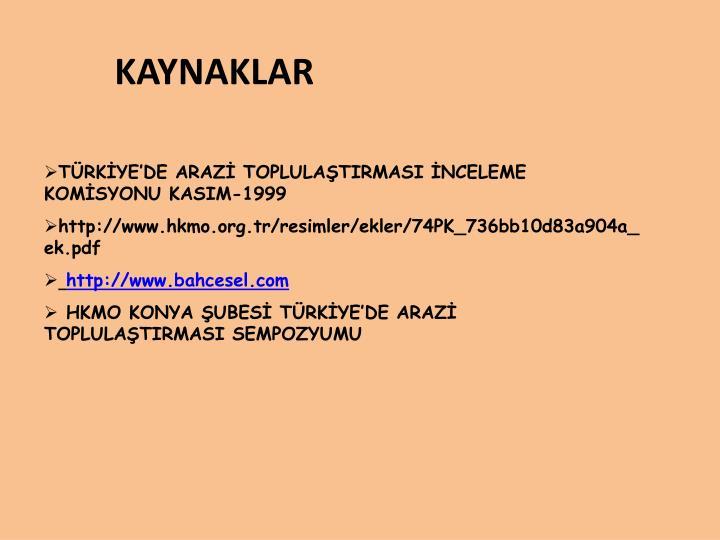 TÜRKİYE'DE ARAZİ TOPLULAŞTIRMASI İNCELEME KOMİSYONU KASIM-1999
