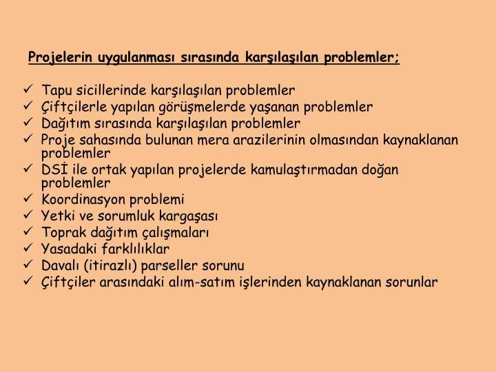 Projelerin uygulanması sırasında karşılaşılan problemler;
