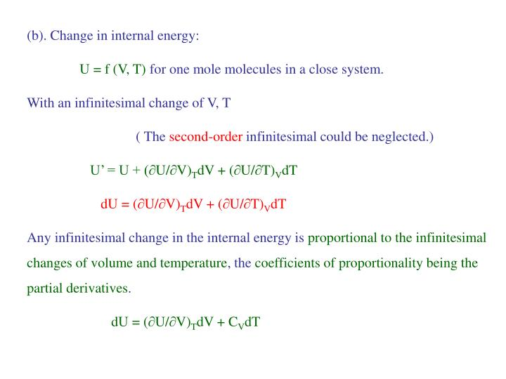 (b). Change in internal energy: