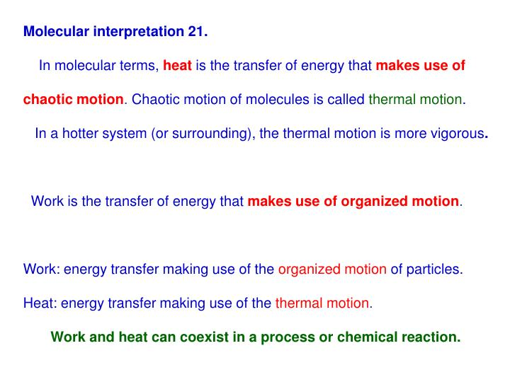 Molecular interpretation 21.