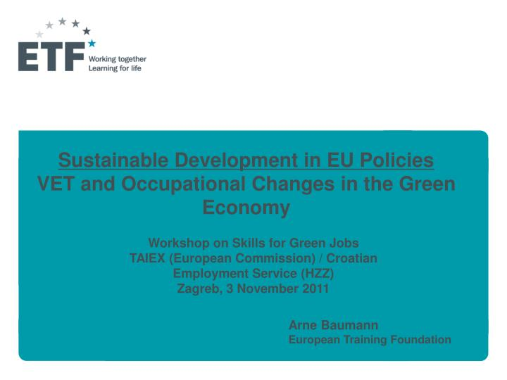 sustainable development in eu policies vet and occupational changes in the green economy n.