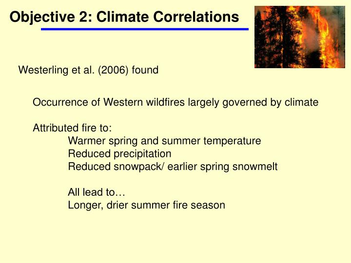 Objective 2: Climate Correlations