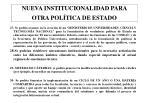 nueva institucionalidad para otra pol tica de estado