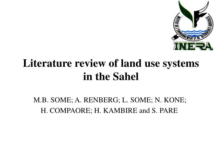 literature review of land use systems in the sahel n.