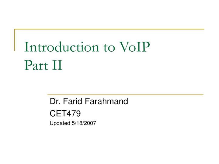 introduction to voip part ii n.