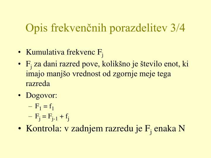 Opis frekvenčnih porazdelitev 3/4