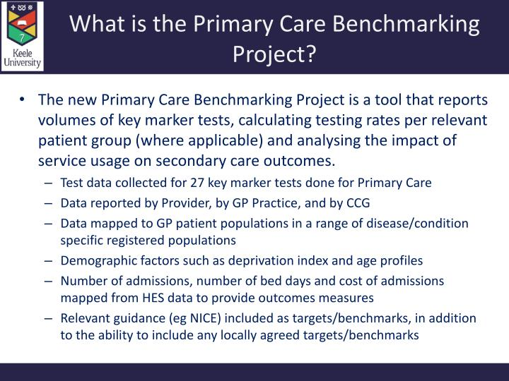 what is the primary care benchmarking project n.