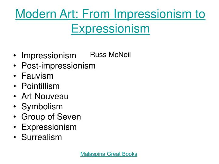 modern art from impressionism to expressionism russ mcneil n.