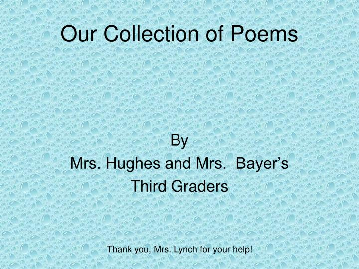 our collection of poems n.