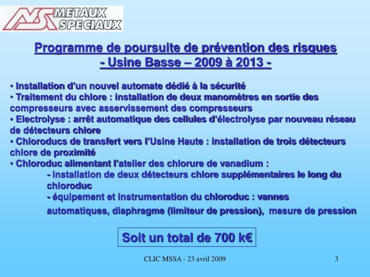 Programme de poursuite de prévention des risques