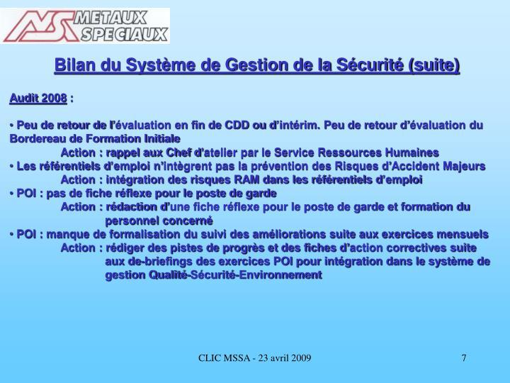 Bilan du Système de Gestion de la Sécurité (suite)