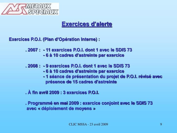 Exercices d'alerte