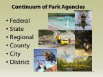 continuum of park agencies