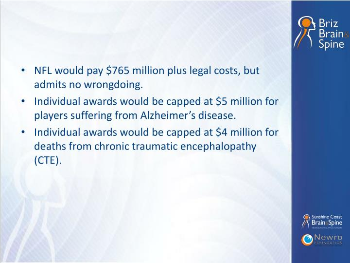 NFL would pay $765 million plus legal costs, but admits no wrongdoing.