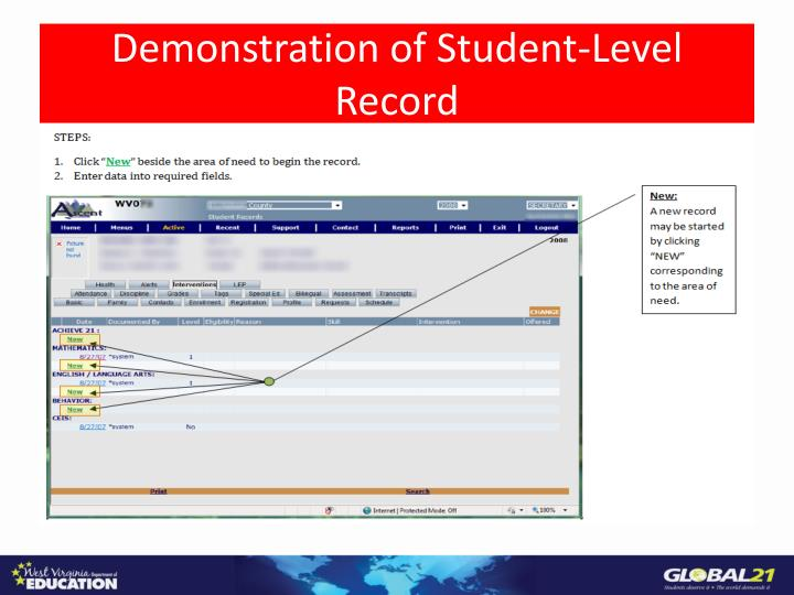 Demonstration of Student-Level Record