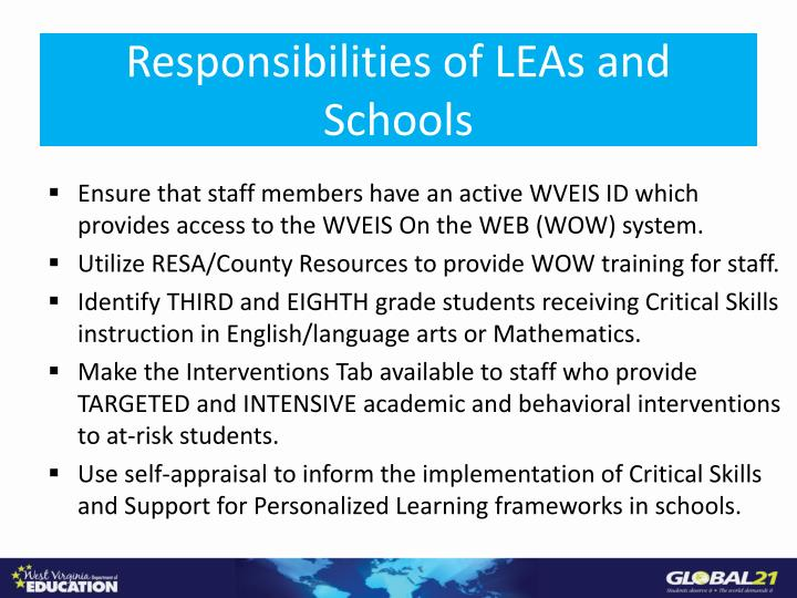 Responsibilities of LEAs and Schools