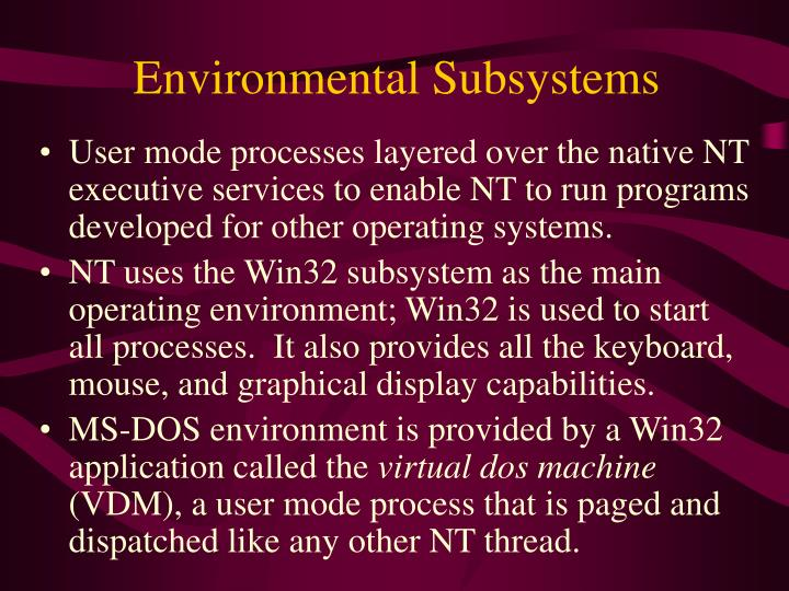 Environmental Subsystems