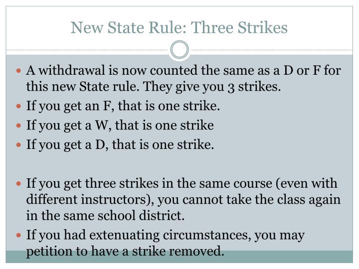 New State Rule: Three Strikes