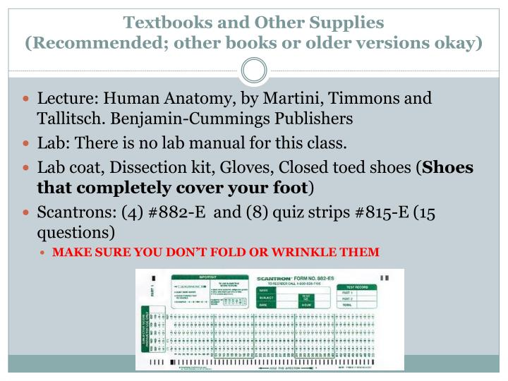 Textbooks and Other Supplies
