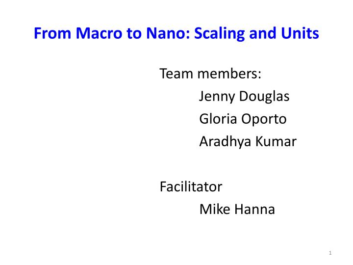 from macro to nano scaling and units n.