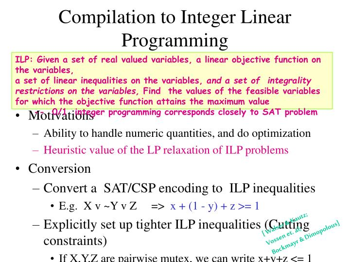 Compilation to Integer Linear Programming