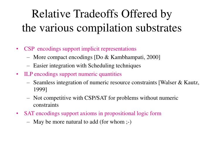 Relative Tradeoffs Offered by