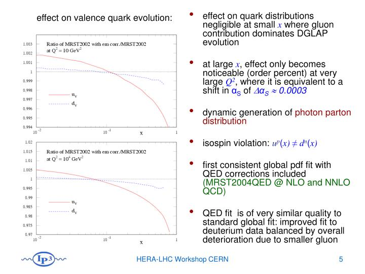 effect on quark distributions negligible at small