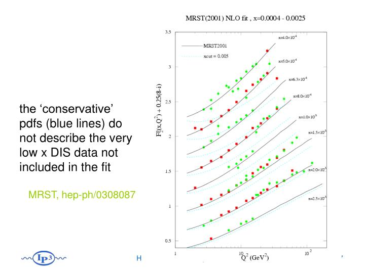 the 'conservative' pdfs (blue lines) do not describe the very low x DIS data not included in the fit