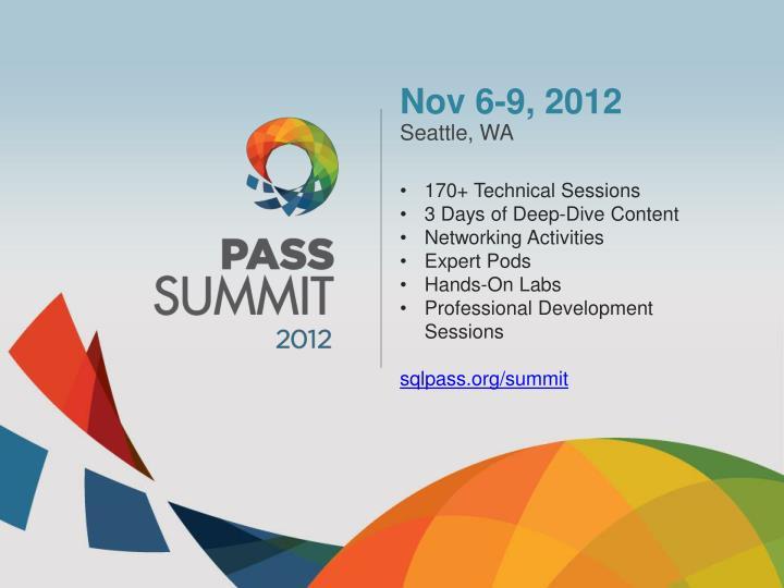 Nov 6-9, 2012