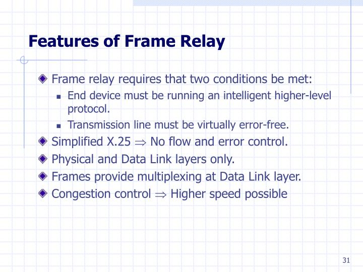Features of Frame Relay