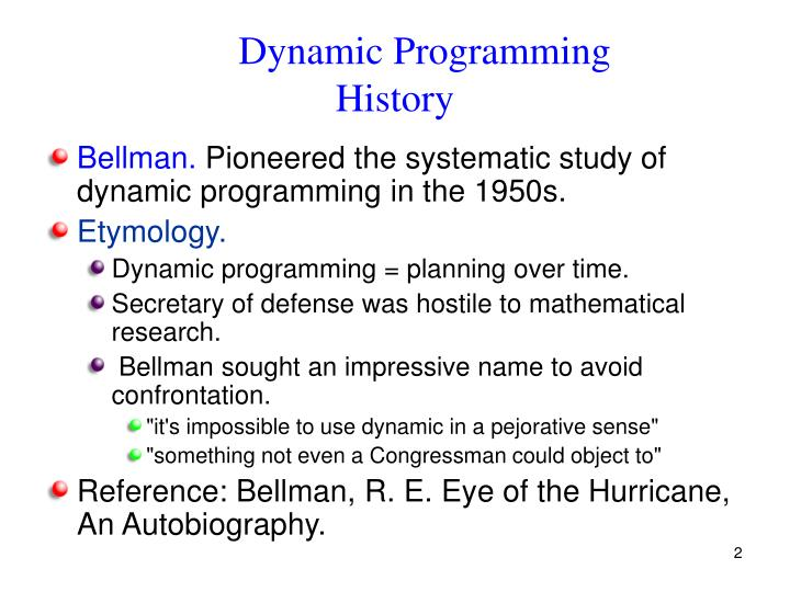 Dynamic programming histo ry