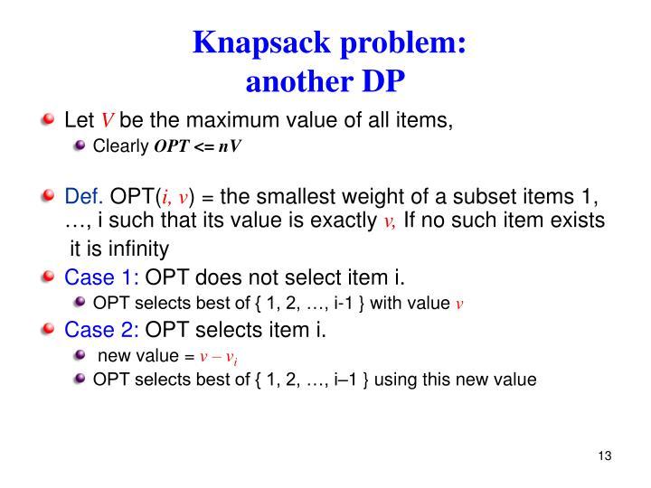 Knapsack problem: