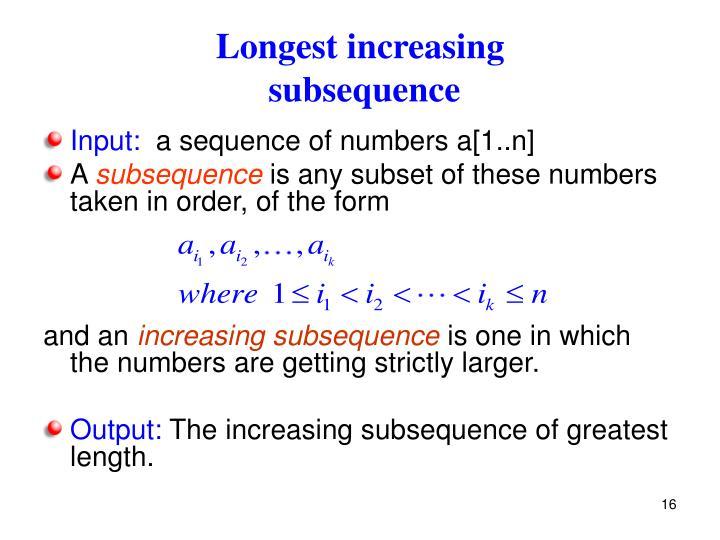 Longest increasing