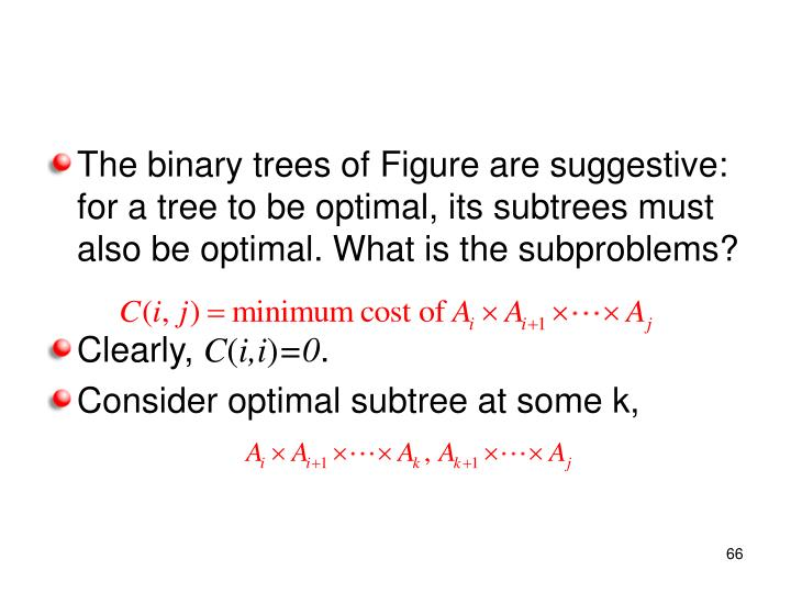 The binary trees of Figure are suggestive: for a tree to be optimal, its subtrees must