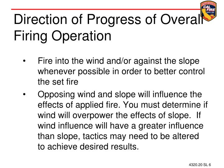 Direction of Progress of Overall Firing Operation