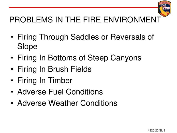 PROBLEMS IN THE FIRE ENVIRONMENT