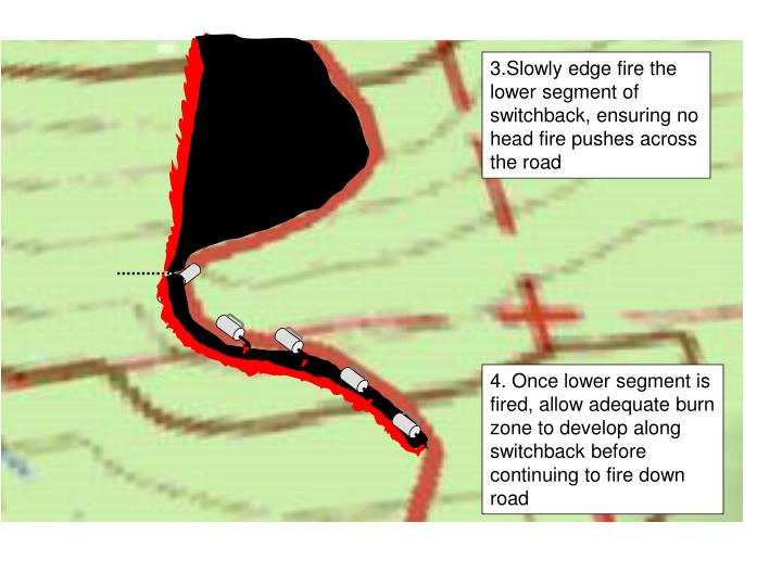 3.Slowly edge fire the lower segment of switchback, ensuring no head fire pushes across the road