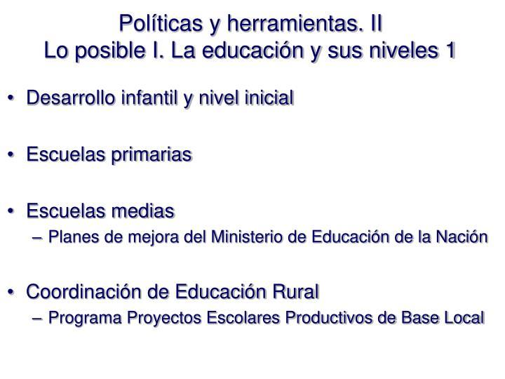Políticas y herramientas. II