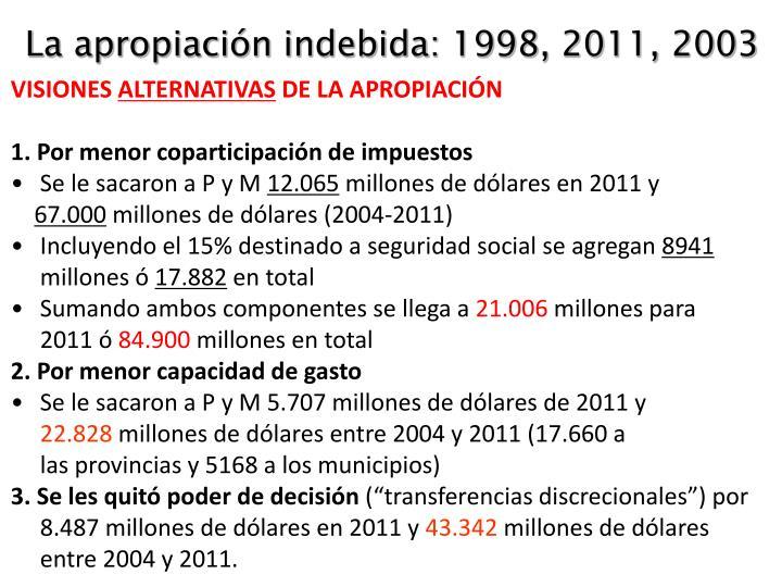 La apropiación indebida: 1998, 2011, 2003