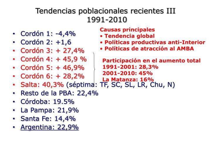 Tendencias poblacionales recientes III