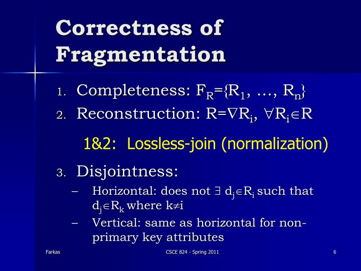 Correctness of Fragmentation