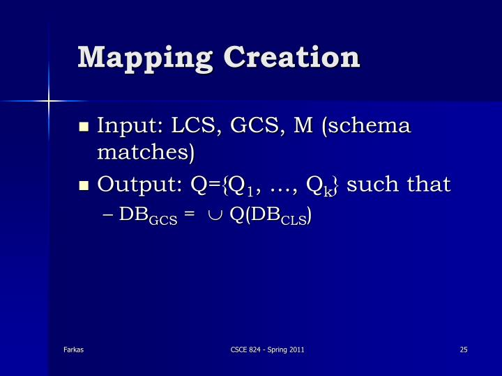 Mapping Creation