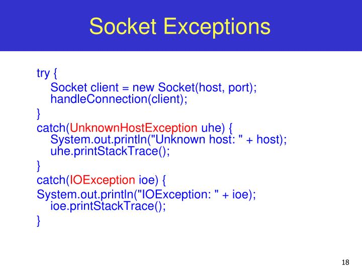Socket Exceptions