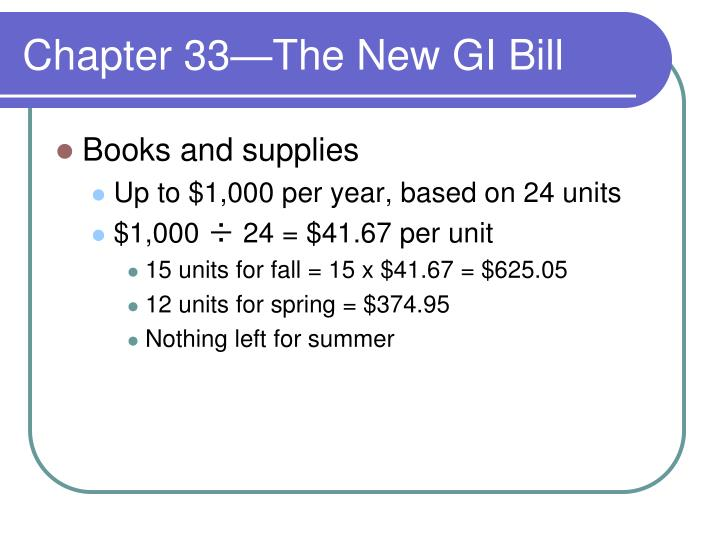 Chapter 33—The New GI Bill