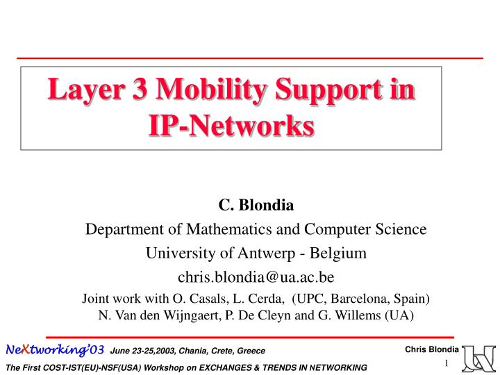 layer 3 mobility support in ip networks n.