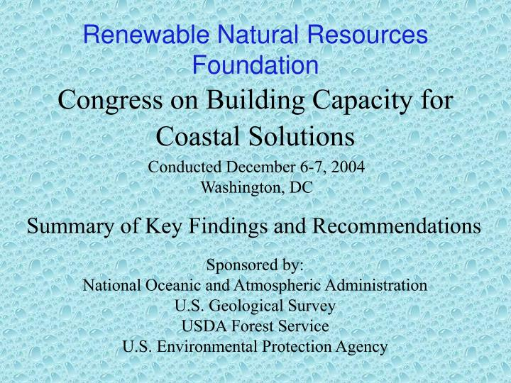 congress on building capacity for coastal solutions n.