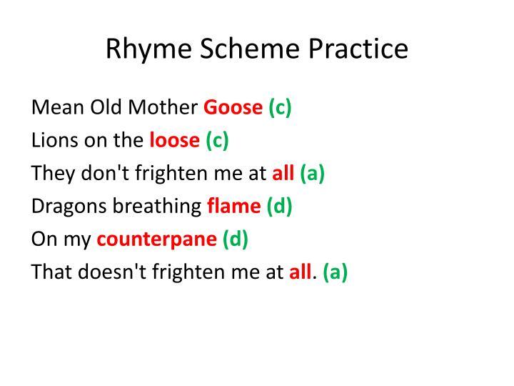 Rhyme Scheme Practice