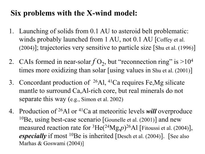 Six problems with the X-wind model: