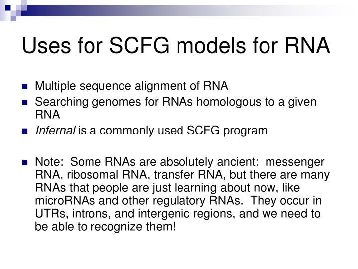 Uses for SCFG models for RNA