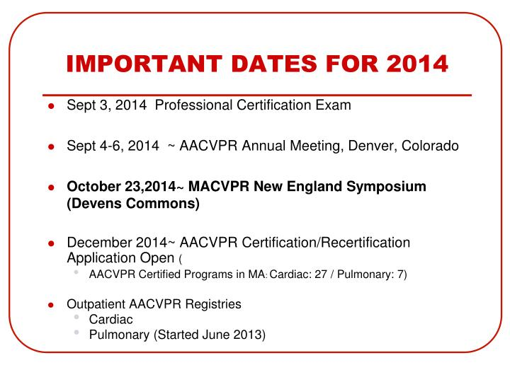 IMPORTANT DATES FOR 2014